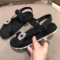 Sandals 35 36 37 38 39 40 black Other / other Superfine fiber Barefoot Flat bottom Flat heel (1cm or less) Summer of 2018 Velcro comfortable Solid color Adhesive shoes Youth (18-40 years old) rubber daily Front and rear trip strap Cross strap buckle Roman style Lateral space Sheepskin Microfiber skin