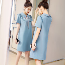 Women's large Summer of 2018 Blue Spot Pink Spot Blue Pre-order June 23 - June 30 Pink Pre-sale June 23 - June 30 Commuting Single Loose Moderate dress Short sleeve Sleeve Three-dimensional cutting POLO collar Korean version Pure color Polyester nylon conventional BL192 Long section Bandages other