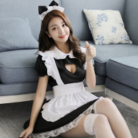 Pajamas / housewear set female Fei Mu One size fits 80-130 Jin Black + white Polyester (polyester) Short sleeve sexy pajamas summer Thin money Crew neck Solid color Socket youth one-piece garment More than 95% Woven cotton fabric Lotus leaf edge 200g Middle-skirt