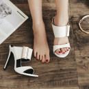 Sandals 35 36 37 38 39 40 White black Other / other PU Barefoot Fine heel Super high heel (over 8cm) Summer of 2018 Trochanter Europe and America Solid color Adhesive shoes PVC daily Metal decorative belt buckle PU PU Patent leather