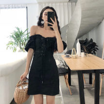 Dress Summer of 2018 Light card black Average size Middle-skirt singleton  Short sleeve commute One word collar High waist Solid color puff sleeve Others 18-24 years old Type A Other / other Korean version other
