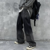 Jeans Winter 2020 Light blue, gradient black S,M,L trousers High waist Wide legged trousers routine Cotton elastic denim Dark color Other / other