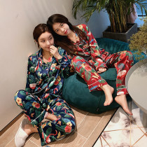 Pajamas / housewear set female Other / other M L Navy Red Iced silk Long sleeves sexy Leisure home spring routine Shirt collar trousers Front buckle youth 2 pieces rubber string printing