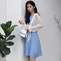 Dress Summer of 2018 Blue drawstring Skirt Pink drawstring skirt purple drawstring skirt black drawstring skirt cardigan Average size Mid length dress Two piece set Sleeveless commute Crew neck High waist Decor other Hanging neck style 18-24 years old Type A Korean version Q