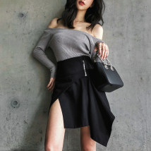 skirt Autumn of 2018 S M L black Short skirt Versatile High waist Irregular Solid color Type A 25-29 years old 81% (inclusive) - 90% (inclusive) Denim polyester fiber Asymmetrical zipper dovetail