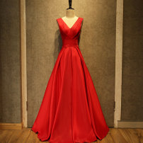Dress / evening wear Weddings, adulthood parties, company annual meetings, daily appointments Support customized XXL s ml XL Red tie rod belt dress + red cape fashion longuette middle-waisted Fall 2017 Fall to the ground Deep collar V Bandage Silk satin 18-25 years old 0828-1 Sleeveless Solid color