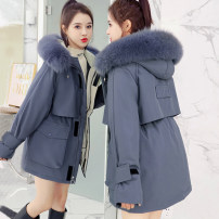Cotton padded clothes Gray, black, blue, off white, pink S. M, l, XL, 2XL, too large, please follow the recommended size Winter 2020 Other / other Medium length Long sleeves thickening zipper commute Hood routine Straight cylinder Solid color Korean version With fur collar, pocket, zipper