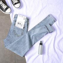 Jeans Autumn 2020 24,25,26,27,28,29,30,31,32,33,34,36 Ninth pants High waist Pencil pants routine Wash, zipper, button Cotton elastic denim Deville