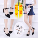 Sandals 35 36 37 38 39 Khaki black Other / other Suede Baotou Thick heel Middle heel (3-5cm) Summer of 2018 Flat buckle Korean version Solid color Adhesive shoes Youth (18-40 years old) rubber daily Bag heel Thick Beaded tie Low Gang Hollow