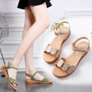 Sandals 35 36 37 38 39 40 Beige green Extraordinary PU Barefoot Flat bottom Low heel (1-3cm) Summer of 2018 Flat buckle leisure time Solid color daily
