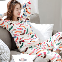 Pajamas / housewear set female Other / other Women's M size (75-95jin) women's L size (95-115jin) women's XL SIZE (115-135jin) women's XXL size (135-155jin) collection baby priority delivery, join the shopping cart to send freight insurance, add cashmere thickening upgrade flannel Long sleeves winter