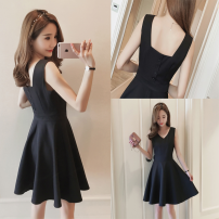 Dress Summer 2017 black S M L XL 2XL Short skirt singleton  Sleeveless commute V-neck High waist Solid color zipper A-line skirt other Others 18-24 years old Type A Other / other Button zipper with open back stitching forty-seven thousand four hundred and fifty-six 81% (inclusive) - 90% (inclusive)
