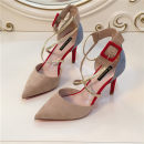 Low top shoes 34 35 36 37 38 39 Other / other Red Black Camel Sharp point Fine heel Superfine fiber Shallow mouth Super high heel (over 8cm) PU Autumn of 2018 Velcro Europe and America Adhesive shoes Youth (18-40 years old) rubber Single shoes Light mouth color matching PU daily