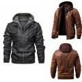 leather clothing Others Youth fashion Black, brown S,M,L,XL,2XL,3XL routine Imitation leather clothes Hood easy zipper winter leisure time nineteen million one hundred and twenty-one thousand one hundred and one