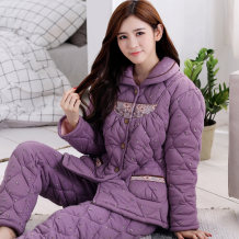 Pajamas / housewear set female Han Zhiyun M L XL XXL XXXL 1150 1151 1152 1153 1154 1157 1158 1159 1160 1163 1164 1183 1185 1186 1194 673 710 711 1134 1136 1156 1165 light purple lotus lake blue cotton Long sleeves Simplicity Living clothes winter thickening Small lapel Broken flowers trousers