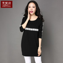 T-shirt black SMLXL2XL3XL4XL Autumn of 2018 Long sleeves Crew neck easy Medium length routine commute 25-29 years old Korean version originality Solid color stitching Fangnisi FNS1413 Stitching lace Cotton 75% polyester 20% polyurethane elastic fiber (spandex) 5% Pure e-commerce (online only)
