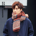 Scarf / silk scarf / Shawl Wool Orange, Navy, jujube, black Spring and autumn and winter male Scarves / scarves keep warm Korean version rectangle Student lovers youth Color matching thickening 45cm 190cm Mg / M buy Thin horizontal stripe mixed color scarf Winter 2016