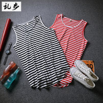Vest / vest Youth fashion Ramo / rambling Dt502 striped vest red L routine 17A011 Cotton 43.1% polyester 37% viscose 13.7% polyurethane 6.2% Spring 2017