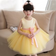 Children's dress yellow female Customized size (contact customer service) 90cm 100cm 110cm 120cm 130cm 140cm AMY RUOQI full dress twenty million one hundred and seventy thousand one hundred and twenty-three Class B other Polyester 70% Cotton 30%
