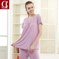 Pajamas / housewear set female Ciler / official MLXLXXL Bean paste purple blue water blue coral powder other Short sleeve Sweet Leisure home summer