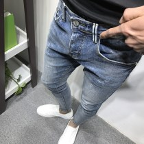 Jeans Youth fashion Others 1730 light blue 1730-8 same pants Thin money Micro bomb Regular denim one thousand seven hundred and thirty Ninth pants tide