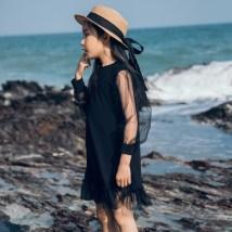 Dress Black transparent mesh sleeve dress Rabbit treasure warm female 110cm 120cm 130cm 140cm 150cm 160cm summer Korean version Long sleeves cotton