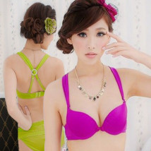 Bras Yellow bra suit green one piece bra black one piece bra yellow one piece bra green bra suit Purple Bra suit purple one piece Bra Black Bra suit 32/70A 32/70B 34/75A 34/75B 36/80A 36/80B Y-strap Rear double row buckle There are steel rings 3/4 U-shaped Acruxyy Middle aged women Beautiful back
