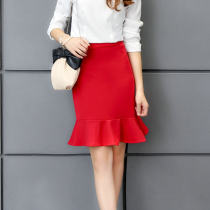 skirt Summer of 2018 M L XXL XL Black red Short skirt High waist Ruffle Skirt Solid color 18-24 years old 6038 fishtail skirt other other Collage / stitching