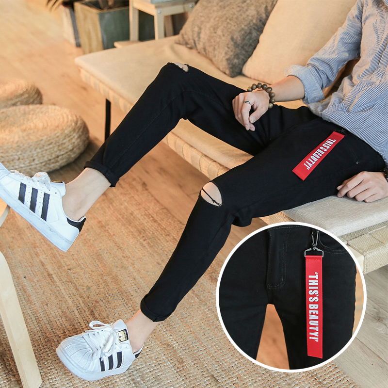 Jeans Youth fashion Others 27 28 29 30 31 32 33 34 36 White black routine Micro bomb Regular denim Ninth pants Other leisure summer teenagers Medium low back Slim feet tide 2018 Little straight foot zipper washing Multiple pockets