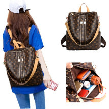 Backpack PU Other / other Picture color brand new in zipper leisure time Double root European and American fashion soft youth no Soft handle Geometric pattern nothing female Water splashing prevention Square box Zipper pocket, mobile phone bag, certificate bag polyester fiber printing yes