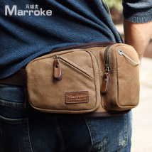 Men's bag Pockets canvas Marroke/Marek Khaki dark blue coffee brand new Casual Zipper pocket mobile phone bag certificate bag zipper movement small soft Pure color Yes Single No Box shape youth MK0012 Polyester Soft handle Three-dimensional bags