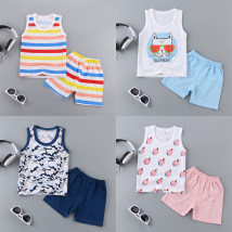 Vest sling 55# 60# 65# 70# Police dog back set watermelon glasses back set three dogs back set Lan Lan wide strip back set pink big strip back set number 888888 set many ice cream set four color strip vest set fashion Haijun vest Sleeveless summer Huige female No model leisure time stripe Crew neck