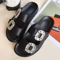 Sandals 35 36 37 38 39 black Mans bale / mans Baylor top layer leather Barefoot Muffin bottom Middle heel (3-5cm) Summer 2017