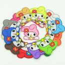 Cloth stickers White off white gray rose red pink orange fluorescent yellow green fluorescent green sky blue purple coffee New joy Cartoon animation rabbit