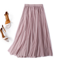 skirt Autumn of 2018 S M L Grey - scheduled for 5 days Pink - scheduled for 5 days longuette commute High waist A-line skirt Solid color Type A More than 95% Spring home other Retro