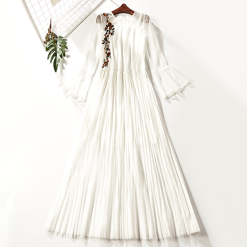 Dress Autumn of 2018 White 2003-138 apricot 2003-138 Average size Mid length dress Two piece set Long sleeves Sweet Crew neck middle-waisted Decor Socket other pagoda sleeve Others Type A Embroidered stitching 51% (inclusive) - 70% (inclusive) other polyester fiber princess