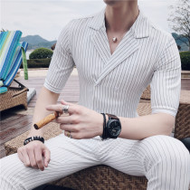 Suit Fashion City Others White gray blue black L shirt with pants m shirt with Pants XL shirt with pants 2XL shirt with pants 3XL shirt with pants 29-35, please note routine No slits Flat lapel summer Self cultivation Multi grain double breasted Other leisure youth Exquisite Korean style 2018 stripe