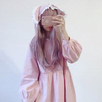 Dress Fall 2017 Khaki Green Pink Average size Mid length dress singleton  Long sleeves Sweet Hood High waist Solid color Socket Princess Dress bishop sleeve 18-24 years old Other / other Splicing More than 95% cotton solar system