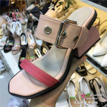 slipper 35 36 37 38 39 40 Other / other Black Pink Heteromorphic heel High heel (5-8cm) PU Summer 2017 One line rubber daily street Adhesive shoes Youth (18-40 years old) Color matching Hollow buckle color matching thick heel metal decorative belt buckle C 0515 (6) PU PU Shaving