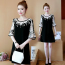 Dress Summer of 2018 Quality edition ordinary Edition L XL 2XL 3XL 4XL 5XL Middle-skirt singleton  elbow sleeve Sweet Crew neck Socket Princess Dress pagoda sleeve Under 17 Other / other cotton college