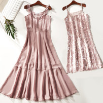 Dress Summer of 2018 Pink 1650-172 S M L Mid length dress Two piece set Sleeveless Sweet Crew neck middle-waisted other Socket A-line skirt other