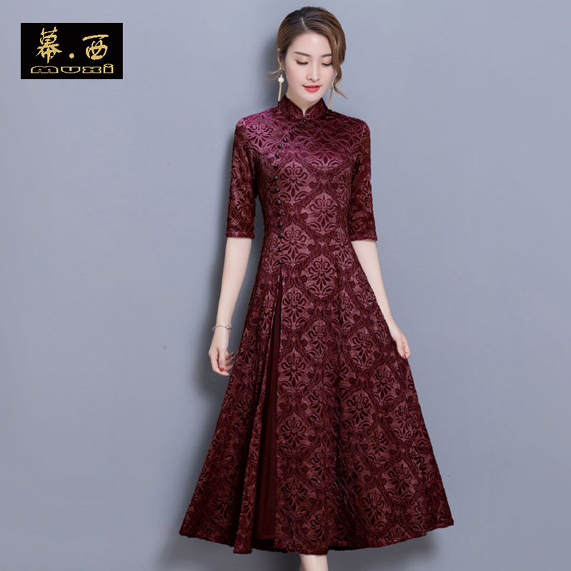 cheongsam Spring of 2018 Dark Red Pearl Pink Purple [short sleeve] black [short sleeve] red [short sleeve] green [short sleeve] Khaki [short sleeve] gray [short sleeve] pink [short sleeve] white red gray blue black [today's photo of Pearl Necklace] 3XL 2XL 4XL s ml XL three quarter sleeve grace daily