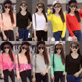T-shirt Orange pink white gray black rose red yellow light green sky blue purple One size fits all Fall 2017 Long sleeves Crew neck Self cultivation Regular routine commute other 51% (inclusive) - 70% (inclusive) Korean version classic Solid color