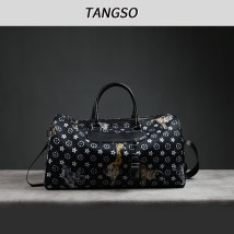 Travel bag canvas nothing Ben's Jiao's Black and white large no travel Single root Japan and South Korea Bag type polyester fiber Soft handle Animal design youth Zipper pocket, mobile phone bag, certificate bag Color contrast TS8028 female H 26 * W 45 * t 22