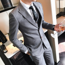 man 's suit Fashion City Grey black light blue Others routine 4XL M L XL 2XL 3XL One hundred and fifteen Self cultivation Double breasted Other leisure Double slit youth Long sleeves summer routine Exquisite Korean style Casual clothes Baling collar Round hem stripe 2018