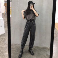 Suit other Others Grey T-shirt cool grey pants Average size Double slit Flat lapel summer Extra wide A double breasted button Travel? Seven hundred and twenty-seven polyester fiber