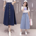 skirt Autumn of 2018 S M L XL 2XL 3XL Light blue dark blue longuette commute High waist Pleated skirt Solid color Type A 18-24 years old eight thousand nine hundred and eighty-nine 81% (inclusive) - 90% (inclusive) Denim cotton Pocket button Korean version