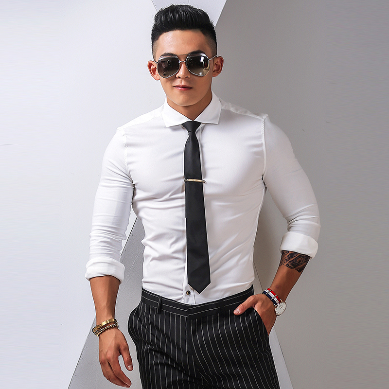 shirt Youth fashion Others S M L XL 2XL Grey blue white black Thin money Long sleeves Windsor collar Self cultivation go to work autumn H3014 youth Cotton 65% polyamide 32% polyurethane elastic 3% Simplicity in Europe and America 2017 Solid color Color woven fabric Hanging dyeing cotton Quilting