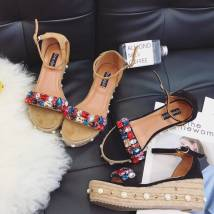 Sandals 35 36 37 38 39 Black apricot Other / other Suede Barefoot Muffin bottom Middle heel (3-5cm) Autumn of 2018