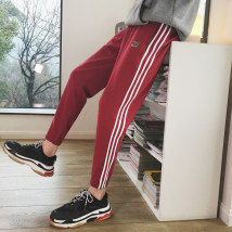 Casual pants Zijun Youth fashion Grey black red green M L XL 2XL routine trousers Other leisure Self cultivation Micro bomb A231A-K719-P58 spring teenagers like a breath of fresh air 2018 middle-waisted Little feet Cotton 95% polyester 5% Sports pants Inlay / stick